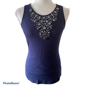 Boston Proper navy tank top with stone details